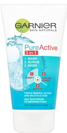 Garnier Pure Active 3in1 Clay Wash Scrub Mask Oily Skin卡尼尔(Garnier)纯净活性三合一洗面膏磨砂面膜给油性皮肤