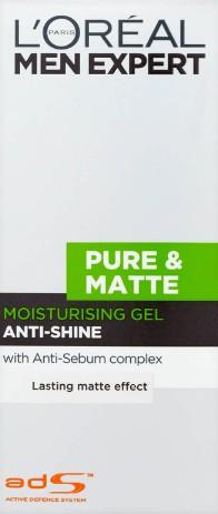 L'Oréal Men Expert Pure and Matte Anti-Shine Gel Moisturiser for Oily Skin欧莱雅男士抗衰老凝胶保湿霜