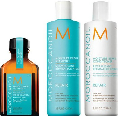 Moroccanoil Moisture Repair Shampoo, Conditioner and Treatment Trio保湿修复洗发露、护发素和护理三重奏套装