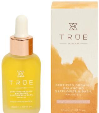 TRUE Skincare Certified Organic Balancing Safflower and Basil Facial Oil 红花和罗勒面部精油30毫升